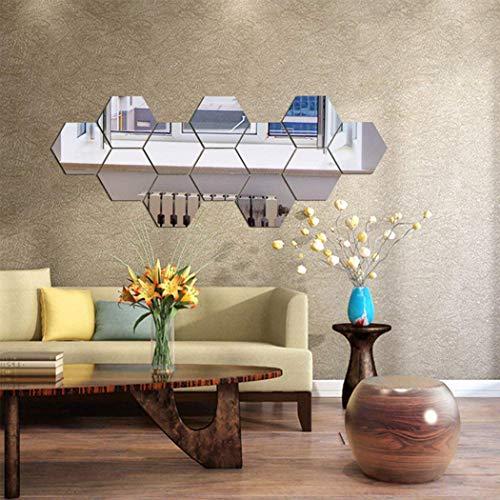 Spiegel-Wandaufkleber, sechseckiger Spiegel, Dekoration, sechseckig, Acryl, Wandbild, Kunststoff, Fliesen, Zuhause, Wohnzimmer, Schlafzimmer, Sofa, TV, Hintergrund, Wand-Dekoration, 12 Stück silber
