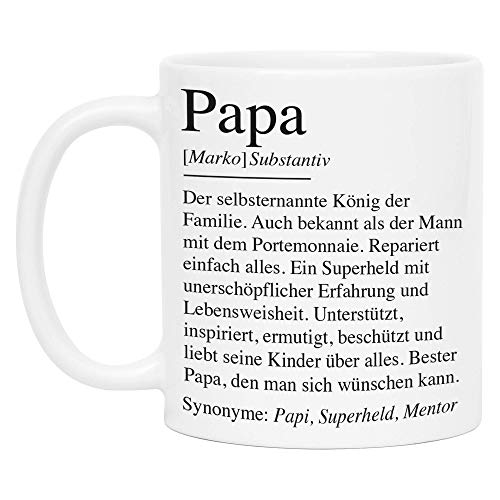 Kiddle-Design Papa Definition Tasse Personalisiert Name Wörterbuch Vater Geschenk Vatertag Individuell Kaffeetasse für Papi Väter Vatertagsgeschenk