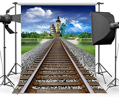 HD 7X10FT/210X300cm Vinyl Photography Backdrop Eiffel Tower Big Ben Statue of Liberty Grass Lawn Railroad Tracks Backdrops Kids Adults Portraits Background Photo Studio Props CA898