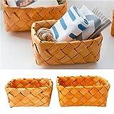 BEVANNJJ Camping Cesta de Pan de Fruta Rectangular de Punto de Mano Creativo Cesta de Madera Cesta de Madera Cesta de la Cesta de Almacenamiento de Picnic 19x14x9cm Picnicware (Color : Brown)