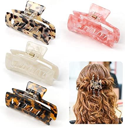 4 clips de garra de pelo grande, elegante horquilla leopardo tortuga fuerte horquilla accesorios para mujer