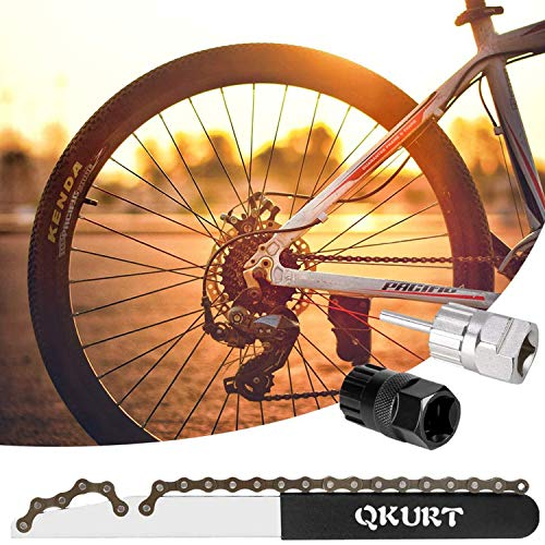 QKURT Bike Chain Whip Tool Kit, 3PCS Cycle Cassette Removal Tool Fit for 7,8,9,10,11,12 Speed Chains