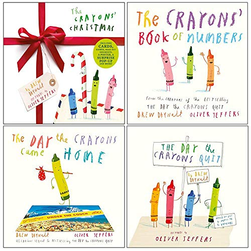 Drew Daywalt Collection 4 Books Set (The Crayons Christmas [Hardcover], The Crayons' Book of Numbers [Board book], The Day The Crayons Came Home, The Day The Crayons Quit)