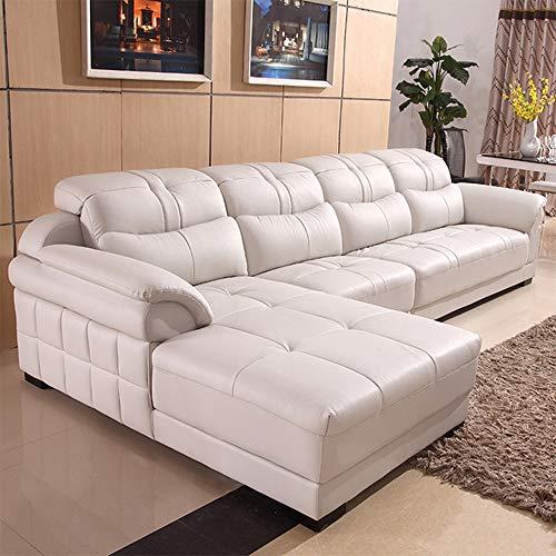 WSN Rinconera sofá,Sofá de Esquina Multifuncional Grande Sofá de Tela Mano Izquierda Muebles de Sala de Estar Derecha Sofá - Esquina - Sofá Cama - Almacenamiento - Piel sintética/Tela Blanco,White