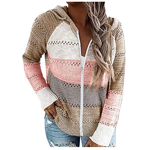 SSMENG Große Größen Damen Basic Kapuzenpullover Sweatjacke Hollow Out Hoodie Sweater Lässige Farbblock Patchwork V-Ausschnitt Pullover Tunika Tops Sweatshirt(Rosa,L)
