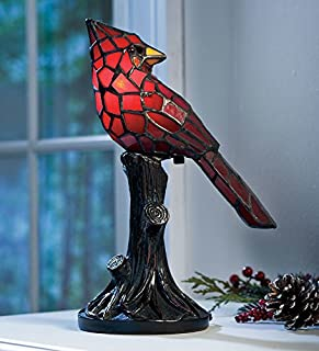 Plow & Hearth Small Vintage Tiffany Style Stained Glass Red Cardinal Accent Table Lamp 7 L x 4.5 W x 11 H