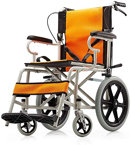 Rabbfay Compact Transport Folding Wheelchair, Portable Lightweight Aluminum Alloy Frame Travel Chair, for Elderly and Disabled Best Gift,A