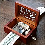 Pursuestar 15 Note Vintage Carved Wood Hand Crank Music Box + 10 Pcs Paper Strips Customize Your Own Songs DIY Craft Gift