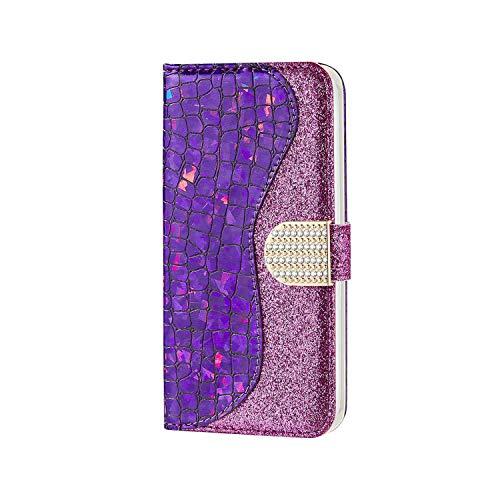 Samsung Galaxy A01 Hülle, SONWO Magnetische Handyhülle, Standfunktion, Kartenfach, Schutzhülle für Galaxy A01, Lila