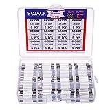 BOJACK 12 valores 60 piezas Kit de surtido de fusibles de vidrio de soplado lento 6x30 mm 250V T 0.5A 1A 2A 3A 4A 5A 6A 7A 8A 10A 15A 20A paquete en una caja de plástico transparente