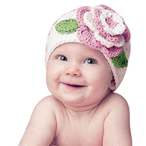 WOF Mignon Grande Fleur Bébé Enfants Infant Toddler Fille Chaud Bonnet Tricoté Chapeau Bonnet Chaud Hiver