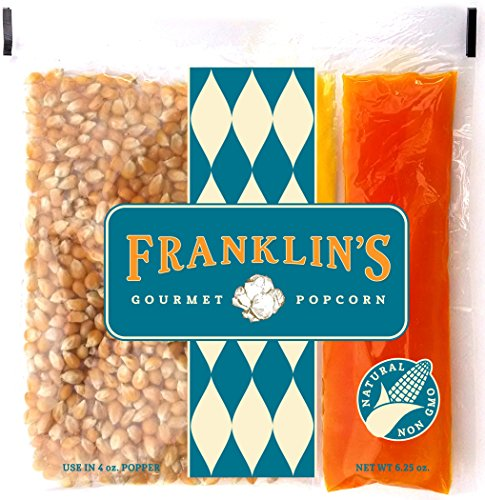 Franklin's Gourmet Movie Theater Popcorn. Organic Popping Corn, 100% Coconut Oil, Seasoning Salt. Pre-Measured Portion Packs (Pack of 24).