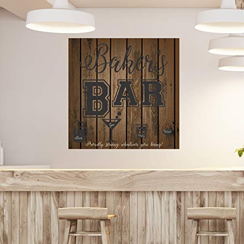 Aangepaste naam Bar Muursticker Gepersonaliseerde naam Whiskey Bar Pub Vinyl Muursticker Art Man Cave Muursticker Ze schuur Decal