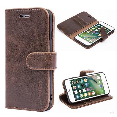 Mulbess Handyhülle für iPhone SE 2020 Hülle Leder, iPhone 8 Handy Hüllen, Vintage Flip Handytasche Schutzhülle für iPhone 8/7 / SE 2020 (4.7 inch) Hülle, Kaffee Braun