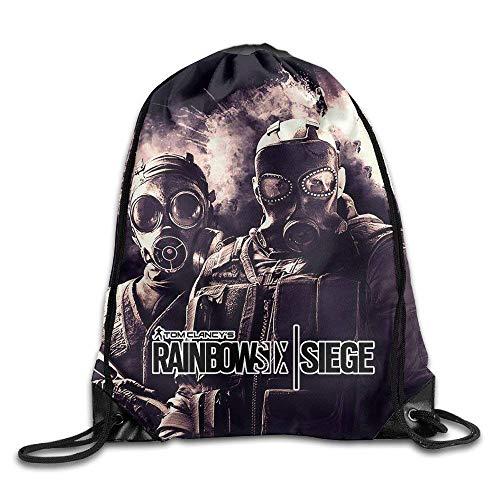 Tom Clancy's Rainbow Six Siege Drawstring Backpack Sack Bag,Unisex Drawstring Shoulder Backpacks Drawstring Bags Casual Travel Bags Shoulder Pouch Beam Port Backpack Tote Canvas Bag Storage Bag