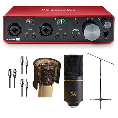 Focusrite Scarlett 2i2 USB Audio Recording Interface Package - MXL 770 Microphone, Wind Screen, Mic Stand, Cables