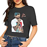 Chris Brown Sexy Exposed Navel Female T-Shirt Bare Midriff Crop Top (Black, M)