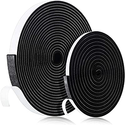 Foam Strip Tape, 2 Rolls Self Adhesive Seal Tape Weather Stripping Insulation Foam Neoprene Weather Stripping Total 33 Feet Long,10 mm/ 3 mm Thickness