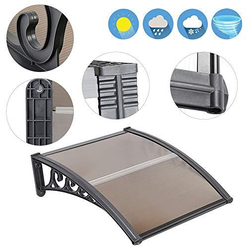 Luifel voordeur, kunststof, aluminium, gebogen luifel, luifel, transparant, raamluifels (Bruin, 100x100cm)