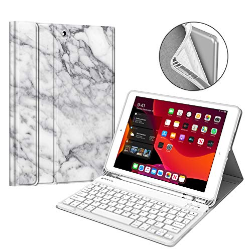 Fintie Keyboard Case for New iPad 7th Generation 10.2 Inch 2019, Soft TPU Back Stand Cover w/Built-in Pencil Holder, Magnetically Detachable Wireless Bluetooth Keyboard for iPad 10.2', Marble White
