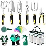 monodeal set di attrezzi da giardino, utensili da giardino con borsa da giardino, guanti per la gulizia del giardino, gecespugliatore, pala da giardinaggio, gegali da giardino per uomo donna