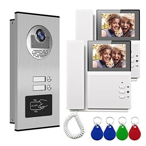 Video Türsprechanlage Türklingel Intercom System, Türsprechanlage mit 4.3 Zoll 2-Monitor 1-Kamera Für...