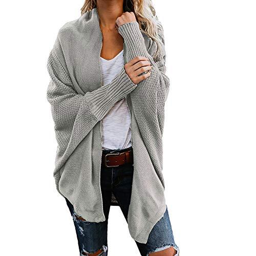 WUAI-Women Kimono Cardigan Sweaters Open Front Batwing Chunky Cable Knit Cardigan Jackets Outwear(Grey,Small)