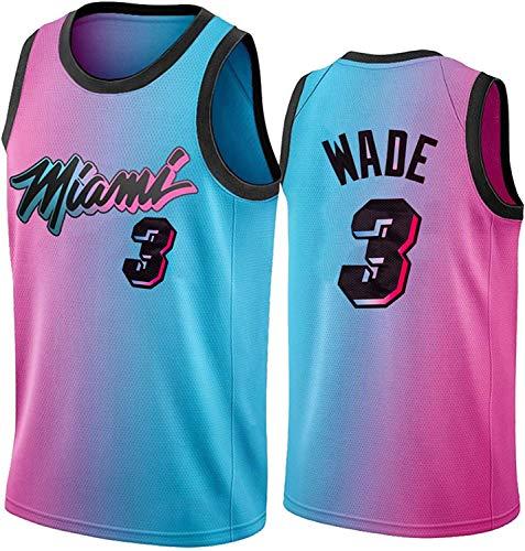 Maglia NBA da Uomo - Miami Heat 3# Dwyane Wade Maglie da Basket NBA - Maglietta Unisex Comoda da Basket Sportiva Canotta,L(175~180CM/75~85KG)