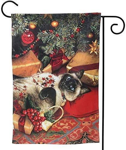 Bandera de decoración de jardín Navidad Lindo Gato siamés Regalo para Mascotas Joy 28x40 Pulgadas Jumbo Adorno Grande al Aire Libre Hogar Casa Jardín Decoración de Patio Doble Cara