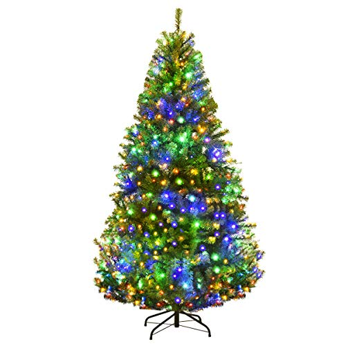 Goplus 6FT Pre-Lit Artificial Christmas Tree Auto-Spread/Close up Branches 11 Flash Modes with Multicolored LED Lights & Metal Stand