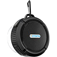 VicTsing SoundHot C6 Portable Bluetooth Speaker with Suction Cup & Sturdy Hook (Dark Black)