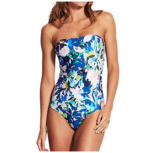 IHEHUA Bikini para mujer, parte superior con estampado floral push-up, con acolchado sin mangas, de una sola pieza A-azul. M