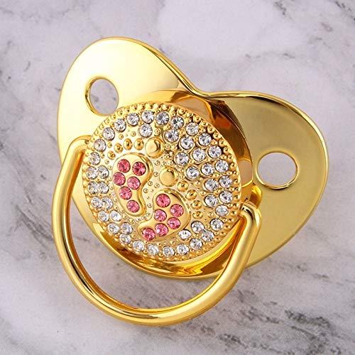 weichuang Nipple Luxuriöse synthetische Diamanten, Golden Bling Schnuller Neugeborene Säugling Unisex Säugling Silikon kiefergerechte Nippel Schlafen Schnuller Nippel (Farbe: Golden 0 - 6 M)
