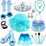 G.C Princess Dress up Set with Princess Hat Handbag Shoes Crown Tutu Glove Fake Makeup Jewelry Accessories Pretend Play Role Dress up Clothes Party Favors Gift Toy for Toddlers Little Girls