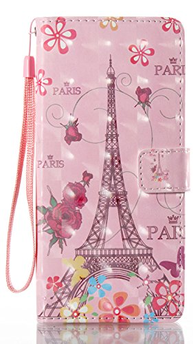 "AIYZE Galaxy Note 8 Case 3D Pattern PU Leather Wallet Case Stand Cover with Cash Card Slots for Samsung Galaxy Note8 N9500 SM-N950F Pro 2017 6.3"" Butterfly Paris Eiffel Tower"