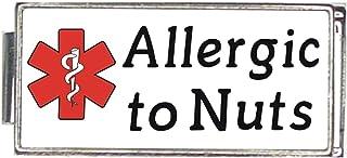 Allergic To Nuts White Medical Alert Italian Charm Superlink Bracelet Jewelry Link