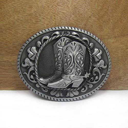 MAODA Botas Occidentales de aleación de Zinc Hebilla de cinturón Vaquero Vaquero Hebilla de cinturón Acabado en Peltre Bucle de 4 cm de Ancho