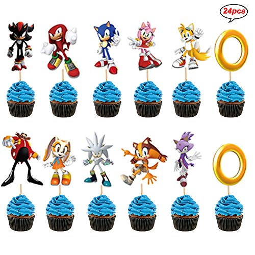 LEBERY Sonic the Hedgehog Cupcake Topper 24pcs, Sonic Birthday Cake Cupcake Decorations, Sonic Cake Cupcake Picks for Sonic the Hedgehog Party Birthday Baby Shower Party Supplies