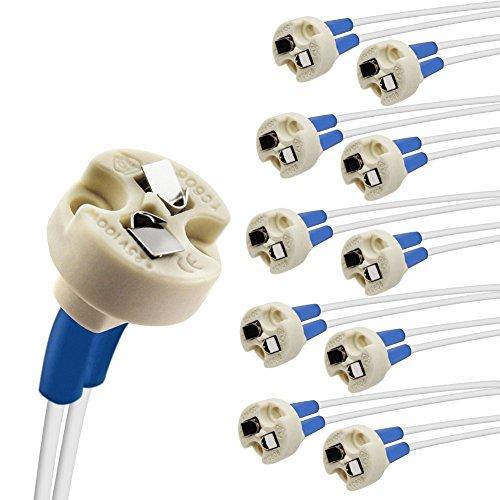 DiCUNO 10P MR16/GU5.3/MR11/G4 Keramik Fassung mit 15CM Kabel, 12-250V, Bi-Pin Base für Halogen/LED-Lampe, für G6.35, GY6.35, GX5.3, GU5.3, GZ4.