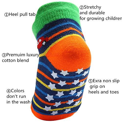 Wobon Baby Boys' 12 Pairs Grips Socks Cotton, Newborn Infant Toddler Boy Anti Skid Socks