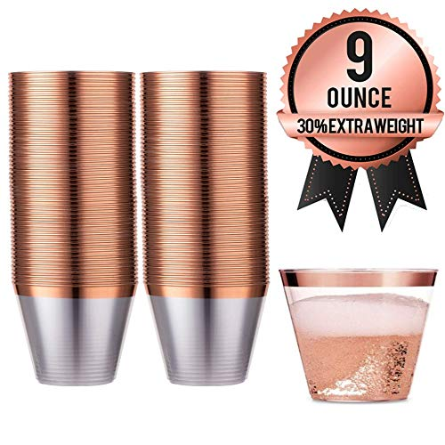 AMEDY'S 100 Gold Rose Rimmed Reusable Plastic Cups – Thick, Durable 9 oz. Disposable Champagne Glasses – Plastic Gold Cocktail Wine Rim Cup For | Holiday | Party | Birthday | Gold Rose Cups