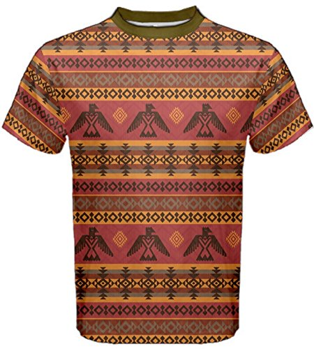 CowCow Brown Eagles Ethnic Style Pattern Tribal Native American Men's Sport Mesh Tee, Brown-2XL