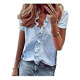Camisas de manga corta de las señoras Tops de verano blusa de oficina ropa de volantes con cuello en