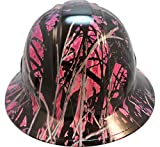 Hydrographic Full Brim Hard Hats with 6 Point Suspension - Muddy Girl Pink Camo