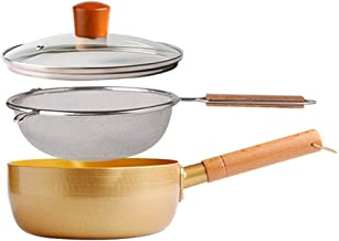 Fryer Set with Leak Net Saucepan 18cm / 20cm Large Non-Stick Milk Pan, Golden Frying Pan Can Be Hung Stockpot for Hob Or S...