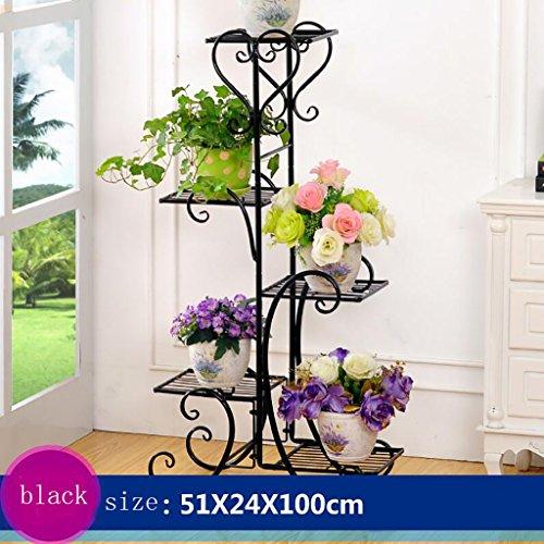 Europese stijl Iron 5-tier Floor Flower Pot Rack, Bloempotten schap 5-bloempot for Indoor, outdoor, woonkamer, balkon Bloemenstandaard-4.4 (Color : Black)
