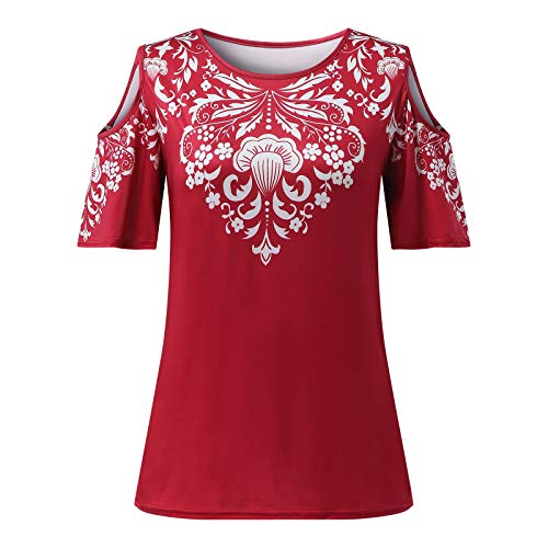 Dicomi Women Casual Printing T-Shirt Cold Shoulder Short Sleeve Loose Shirt Tops Red