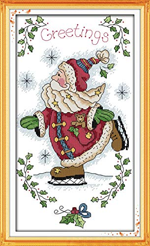 Cross Stitch Kits, Santa Claus Skating Christmas Awesocrafts Easy Patterns Cross Stitching Embroidery Kit Supplies Christmas Gifts, Stamped or Counted (Santa Claus, Counted)
