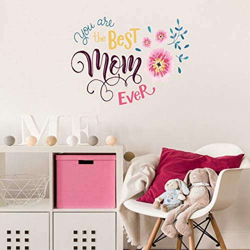 LASZOLA You are The Best MOM Ever Wall Sticker with Cartoon Flowers Home Decor Wall Decal, Large Wall Quote Letters Removable Vinyl Art Murals Wallpaper Decoration for Living Room (zsz2008)