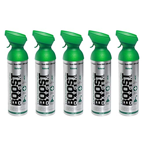 Boost Oxygen Natural Flavorless Portable 10 Liter Pure Canned Oxygen Canister (5 Pack)